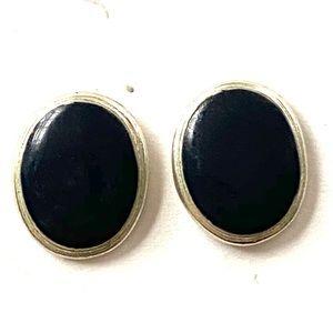 Black silver vintage earrings